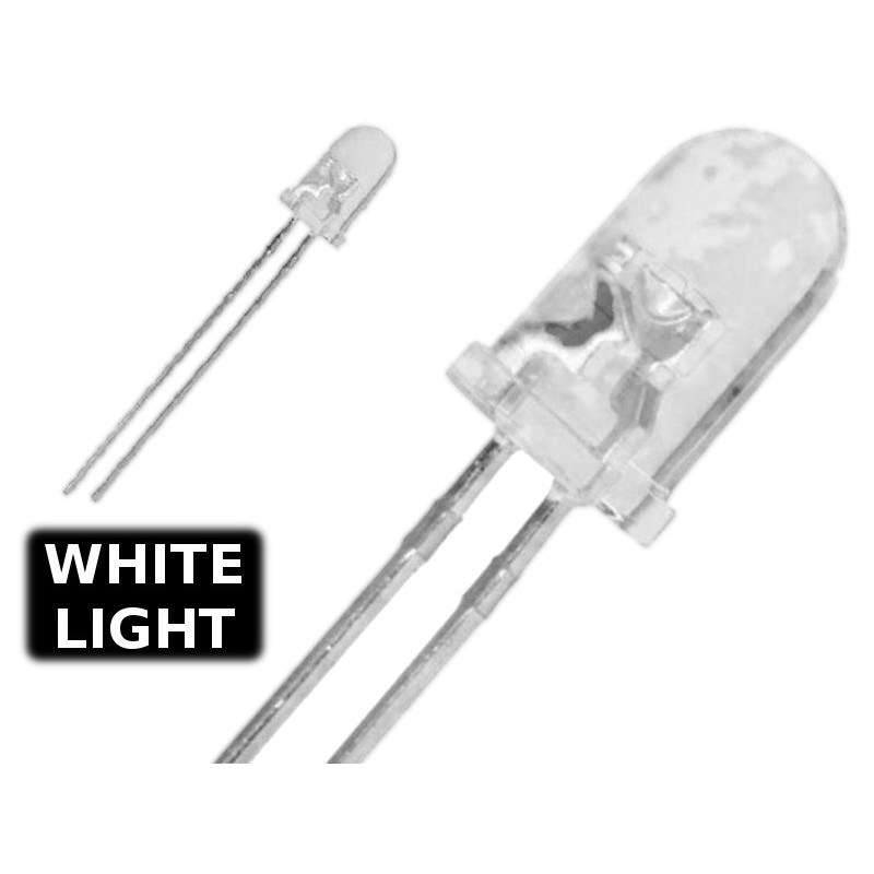 ( 10 pcs ) LED BIANCO WHITE 3mm WATERCLEAR 14000 mcd 3.2V