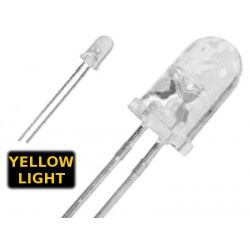 ( 10 pcs ) LED GIALLO 3mm WATERCLEAR 1500 mcd 2.0V