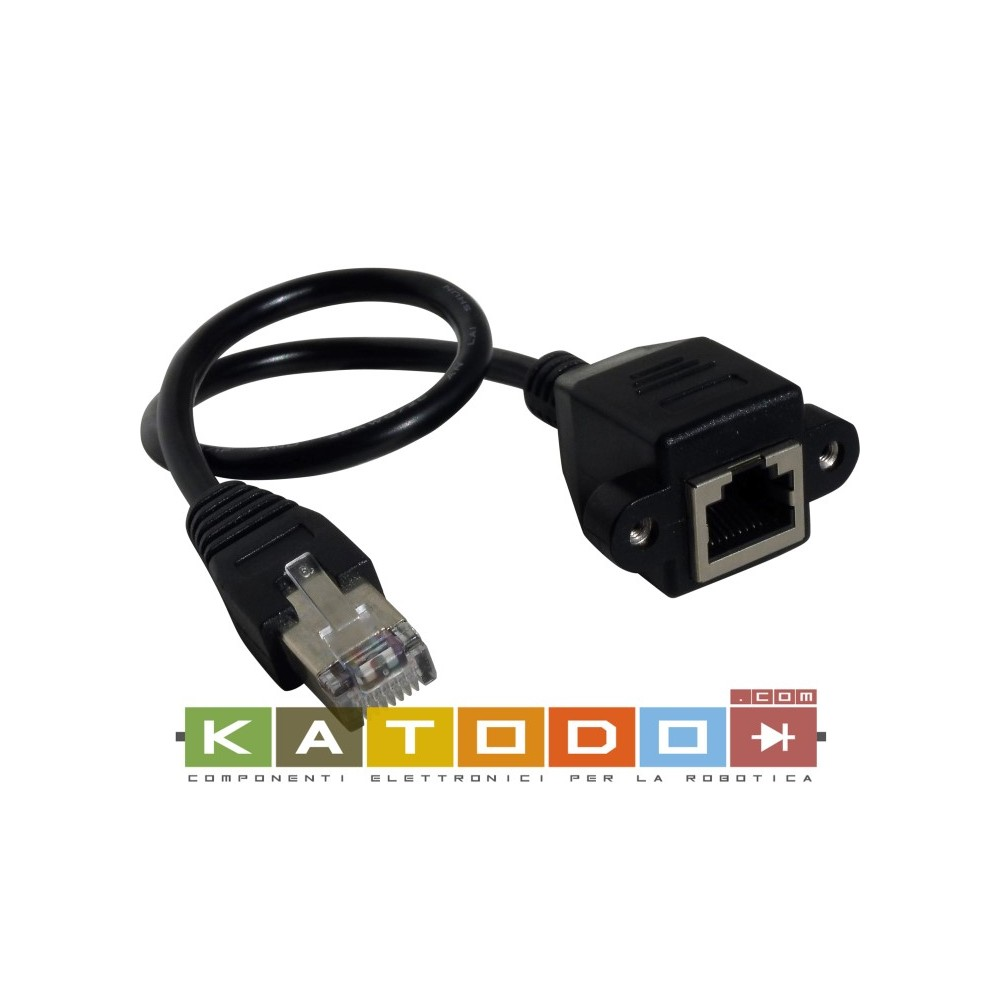 30Cm LAN Network RJ45 Male to Female Screw panel mount Extension Cable