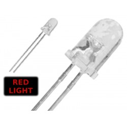 ( 10 pcs ) LED ROSSO 3mm WATERCLEAR 3000 mcd 2.2V