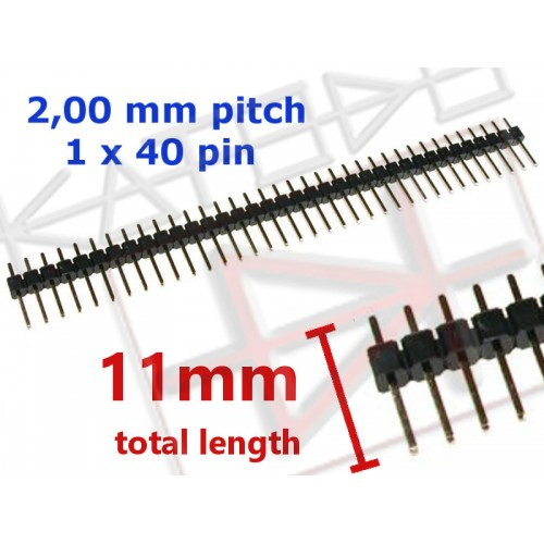 40 pin 2.0mm pitch 11mm length Male Header Strip