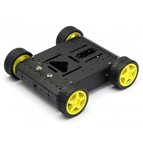 4WD Drive Aluminum Mobile Car Robot Platform for Arduino - Black Version