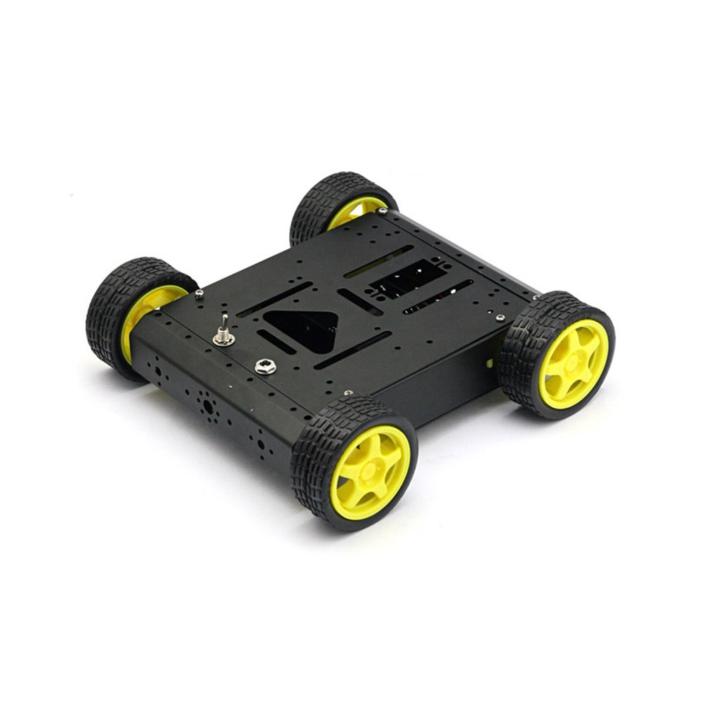 4WD Drive Aluminum Mobile Car Robot Platform for Arduino - Black Version