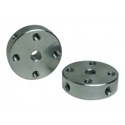 Aluminum Hub with Bore for 4mm shaft - 22mm out diameter - 16mm hole distance - M3 screw hole - NO SCREW ( MOZZO M3 D4 )
