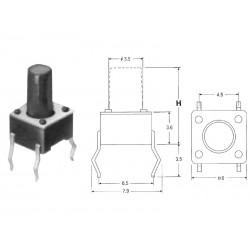 ( 10 pcs ) PULSANTE ORIZZONTALE 4.5x6.5 H9.5 mm 160gr DJ-1102D-160-9.5 BU66