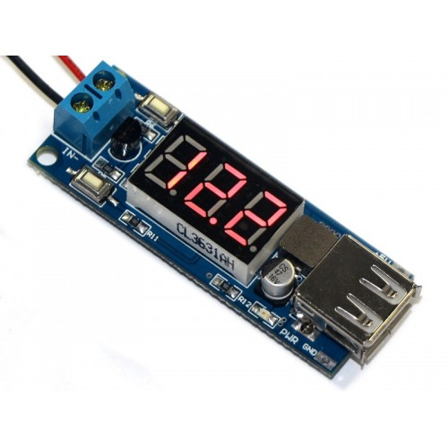 DC-DC Step-down Converter with USB output - 4.5-40V Input - 5V 2A Output - Voltmeter for input voltage monitor