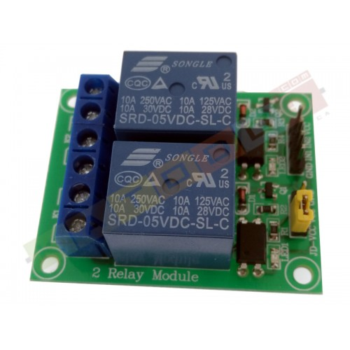 Relay Module with Optoisolated input - 2 Channels 10A - 5V Supply - Arduino PIC AVR
