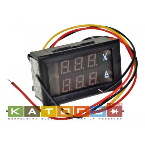 Panel Meter DC 0-100V 20A Dual LED Voltmeter Ammeter - LCD Panel Volt Gauge Amp