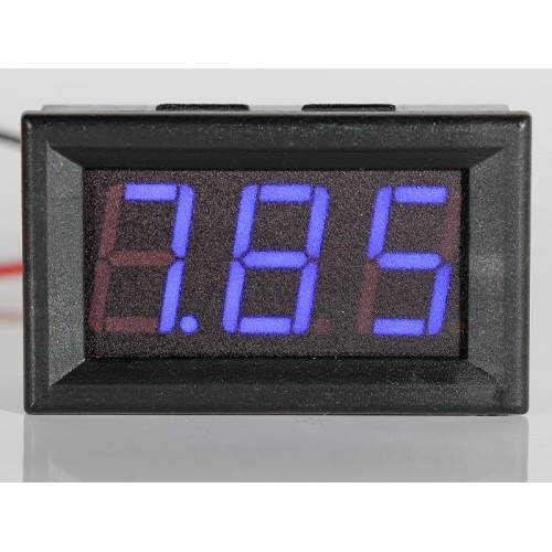 "Panel Meter Voltmeter 0,56"" (14,2mm) LED 0-32V 2 or 3 wire input - BLUE"