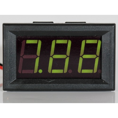 "Panel Meter Voltmeter 0,56"" (14,2mm) LED 0-32V 2 or 3 wire input - GREEN"