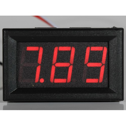 "Panel Meter Voltmeter 0,56"" (14,2mm) LED 0-32V 2 or 3 wire input - RED"