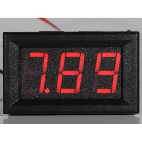 "Panel Meter Voltmeter 0,56"" (14,2mm) LED 0-32V 2 or 3 wire input - RED"