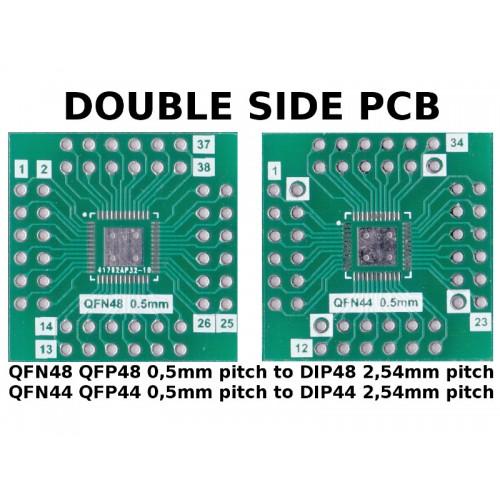 PCB QFN48 QFP48 QFN44 QFP44 0,5mm pitch to DIP44 / DIP48 2,54mm pitch ADAPTER