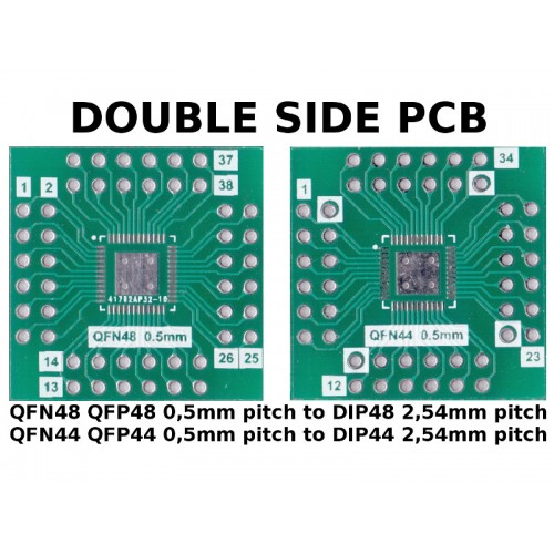 PCB QFN48 QFP48 QFN44 QFP44 0,5mm pitch to DIP44 / DIP48 2,54mm pitch ADAPTER
