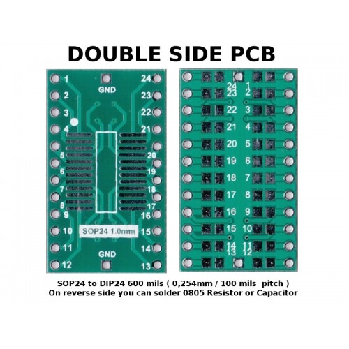 5 pcs - PCB SOP24 to DIP24 ( 600 mil, 2.54mm Pitch ) ADAPTER