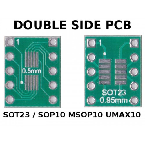 PCB SOT23 / SOP10 MSOP10 UMAX10 ( 0.5 and 0.95 mm ) to DIP10 (0,254 mm / 100 mils pitch) ADAPTER