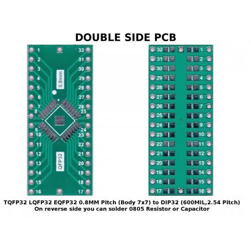 PCB TQFP32 LQFP32 EQFP32 0.8 mm Pitch ( Body 7x7 ) to DIP32 ( 600 mil, 2.54mm Pitch ) ADAPTER