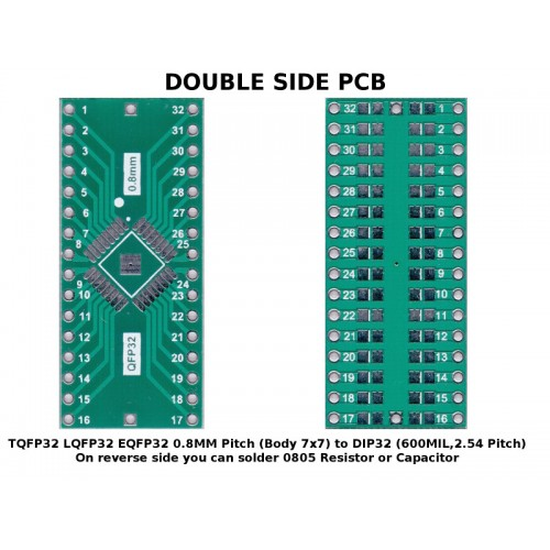 PCB TQFP32 LQFP32 EQFP32 0.8 mm Pitch ( Body 7x7 ) to DIP32 ( 600 mil, 2.54mm Pitch ) ADAPTER