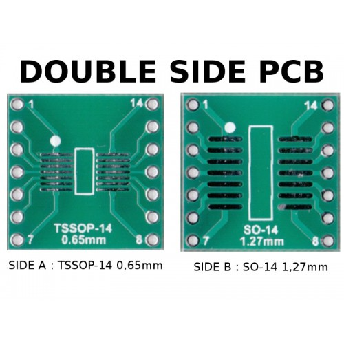 5 pcs - PCB TSSOP14 0,65mm and SO-14 1,27mm to DIL ADAPTER
