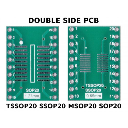 PCB TSSOP20 SSOP20 MSOP20 SOP20 to DIL ADAPTER