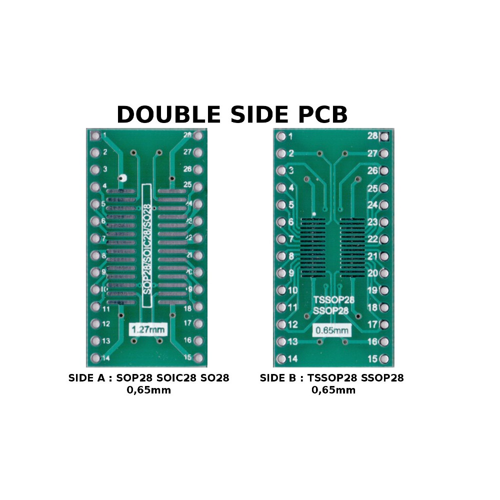 PCB TSSOP28 SSOP28 0,65mm and SOP28 SOIC28 SO28 1,27mm to DIL ADAPTER