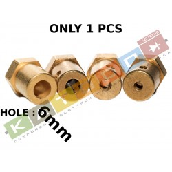 1pcs HUB 12mm HEX, 6mm internal diameter, 18mm length, with screw