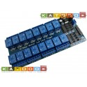 Relay Module with Optoisolated input - 16 channel 10A - 12V Supply - Low Level Trigger - Arduino Compatible