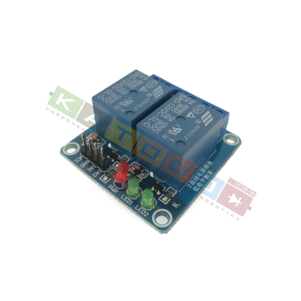 Relay Module with Optoisolated input - 2 Channels 10A - 12V Supply - Arduino PIC AVR