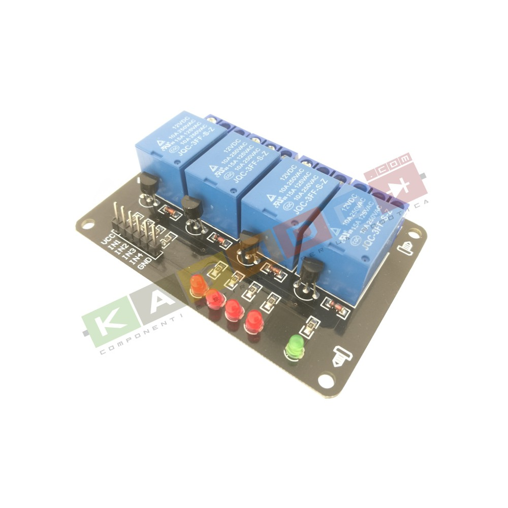 Relay Module with Optoisolated input - 4 Channels 10A - 12V Supply - Arduino PIC AVR