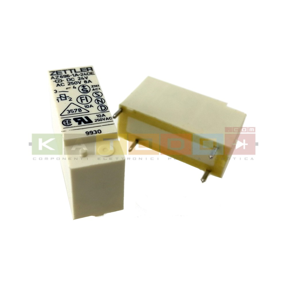 AZ696-1A-24DE - AZ696 Series 8 A SPDT 24 VDC PCB Mount Sealed Subminiature Power Relay
