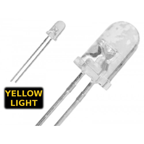 ( 20 pcs ) LED GIALLO - YELLOW 5mm WATERCLEAR 1000-1500 mcd 1.8-2.0V typ