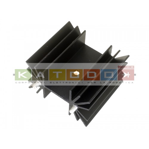 Black anodized aluminum Heatsink T39/38 TO220 - 35,7x39,5x22,4 mm ( HxLxP) - Pin distance 25,05 +/- 0,05 mm