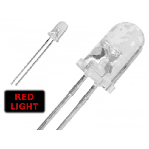 ( 20 pcs ) LED ROSSO 5mm WATERCLEAR 3000 mcd 2.2V