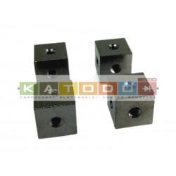 4 pcs - Mounting Cube 3xM3/12x12 Brass nickel plated - Ettinger cod 05.60.534