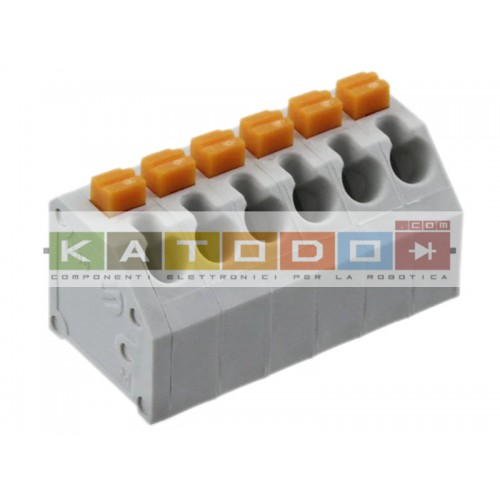 "6 Position Wire to Board Terminal Block 45° (135°) Angle with Board 0.150"" (3.81mm) Through Hole, Kinked Pin - Würth Elektroni"