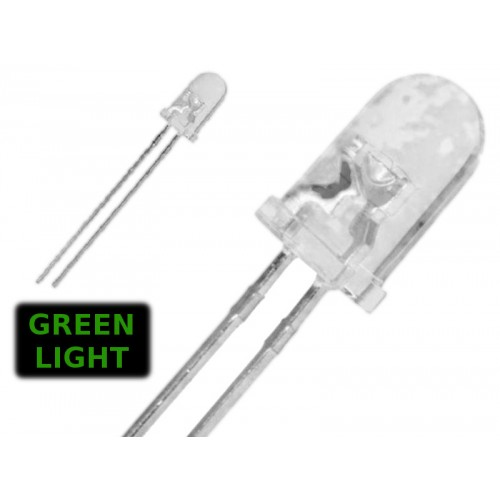( 20 pcs ) LED VERDE 3mm WATERCLEAR 1500 mcd 2.0V