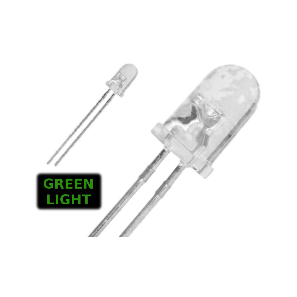 ( 20 pcs ) LED VERDE 3mm WATERCLEAR 1500 mcd 2.0V