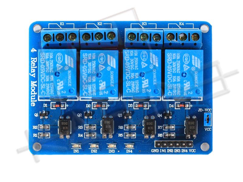 Modulo Relè 4 Canali 10A per Arduino - Top