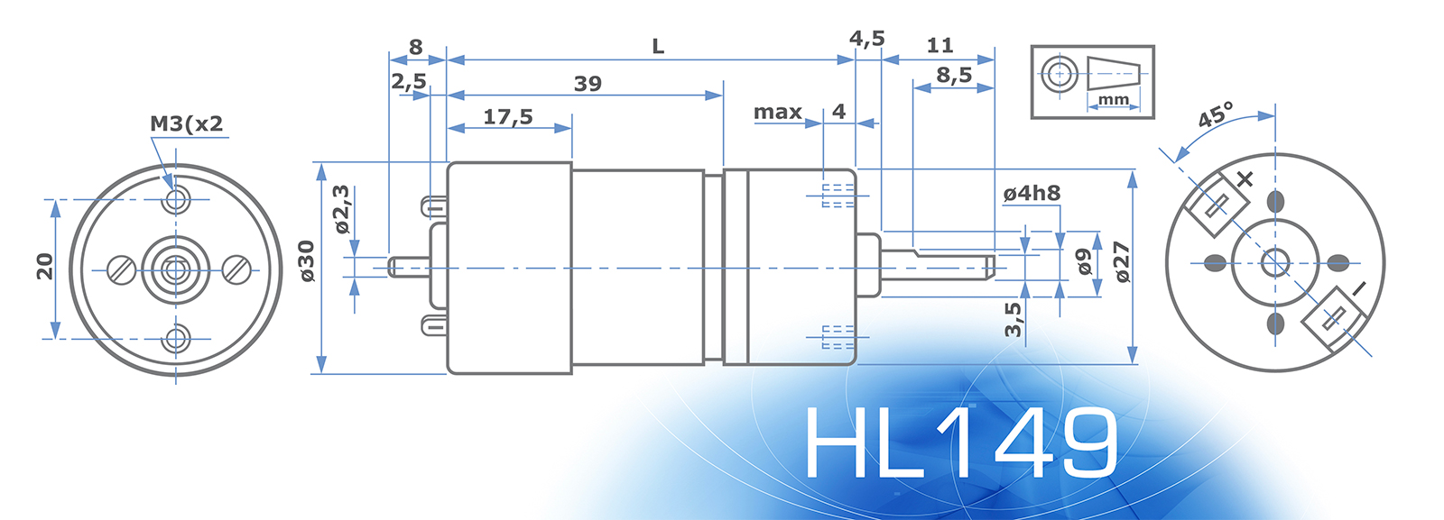 HL149 - Technical Drawing - No Encoder