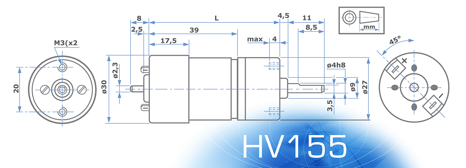 HV155 Motor without ENCODER